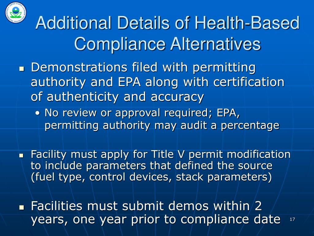 Additional Details of Health-Based Compliance Alternatives