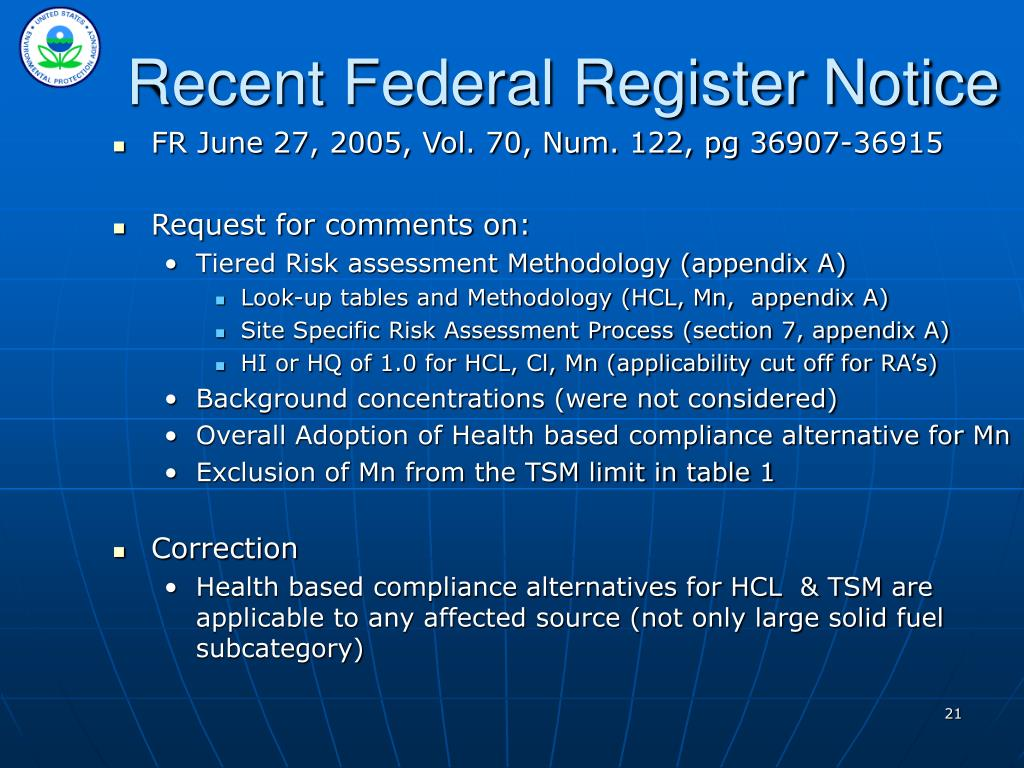 Recent Federal Register Notice