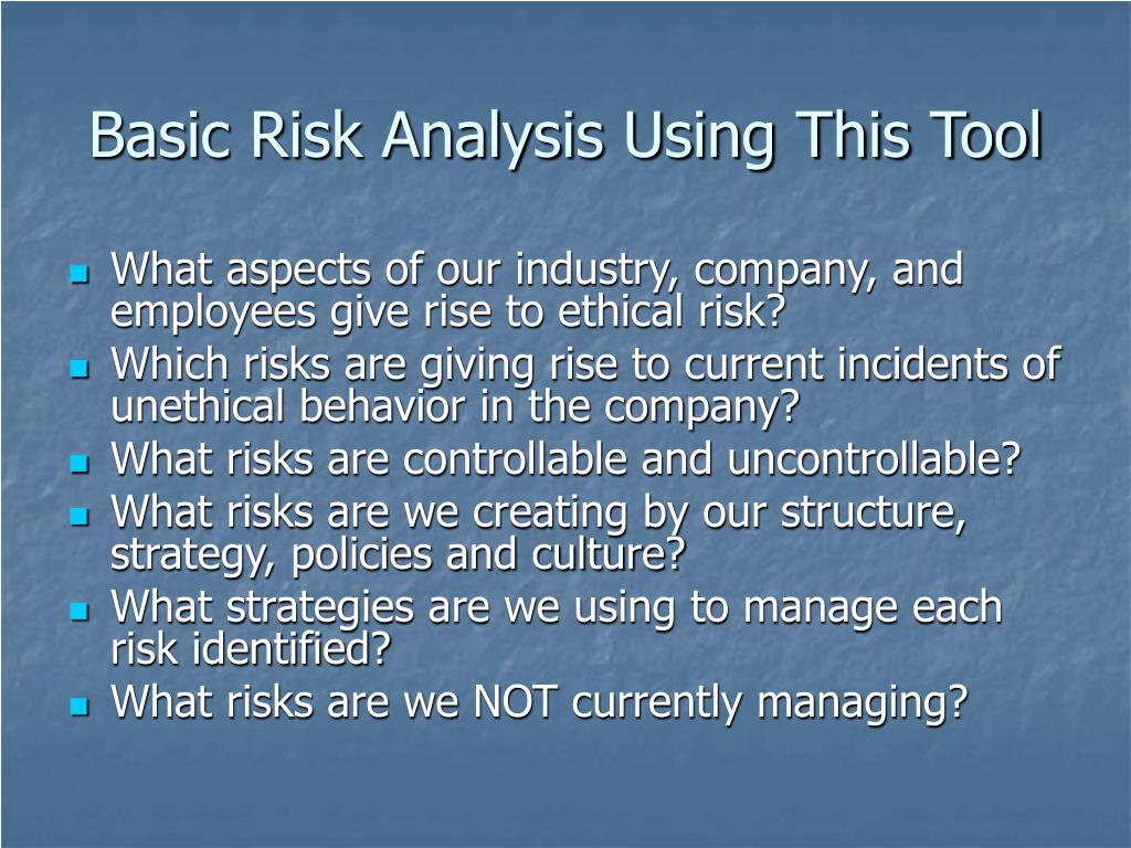 Basic Risk Analysis Using This Tool