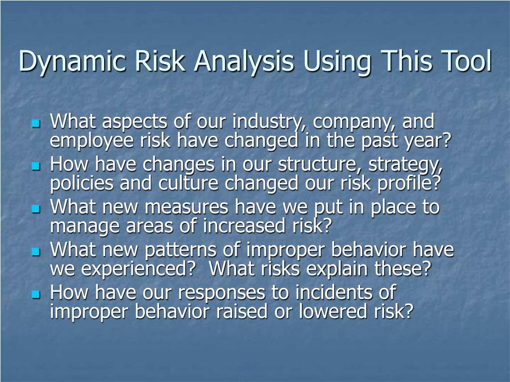 Dynamic Risk Analysis Using This Tool