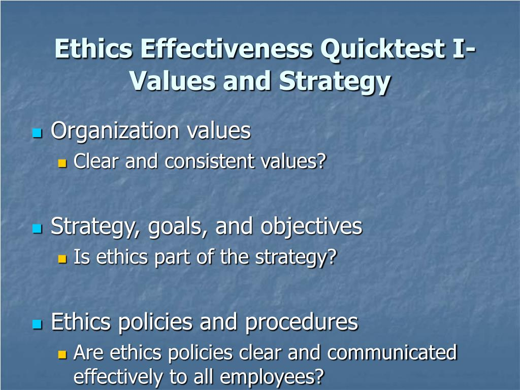 Ethics Effectiveness Quicktest I-