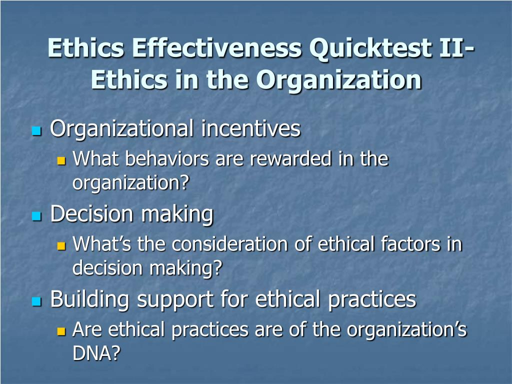 Ethics Effectiveness Quicktest II-