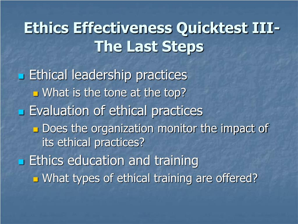 Ethics Effectiveness Quicktest III-