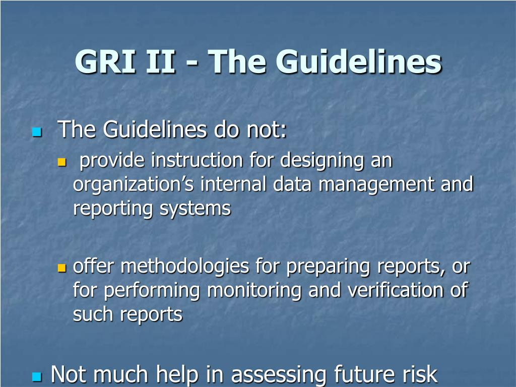 GRI II - The Guidelines
