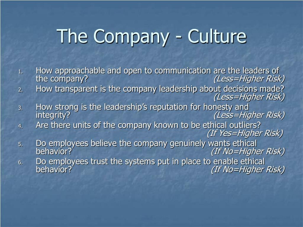The Company - Culture