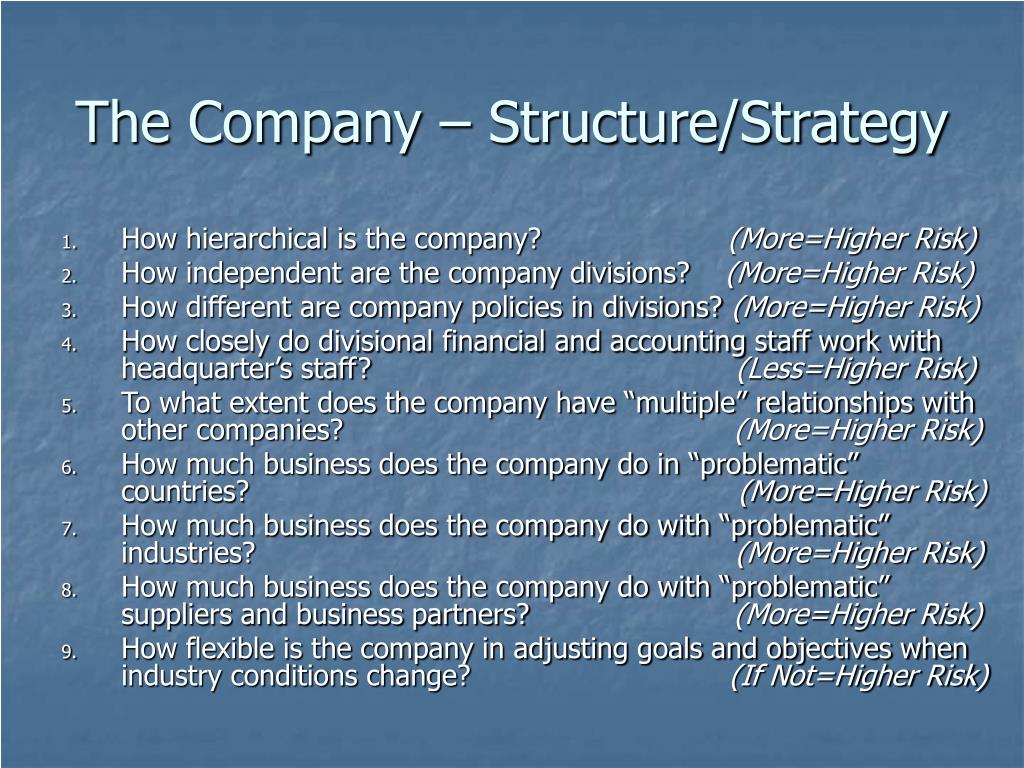 The Company – Structure/Strategy