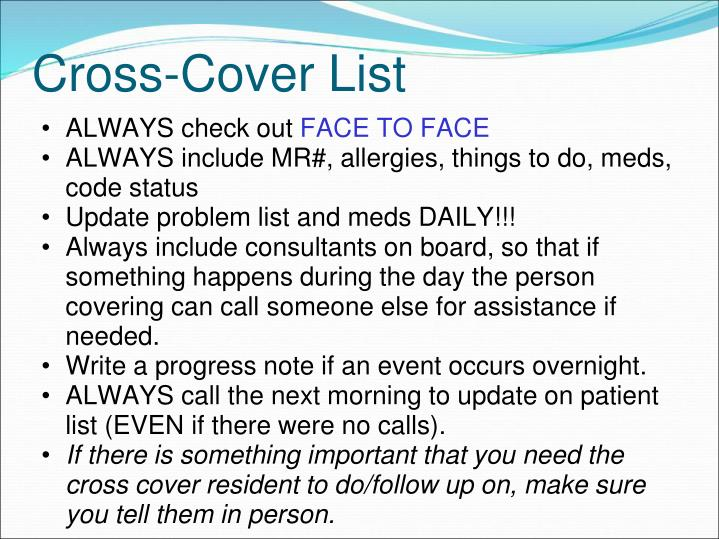 Cross-Cover List