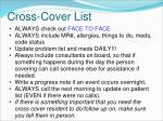 cross cover list