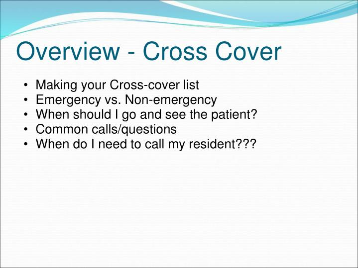 Making your Cross-cover list