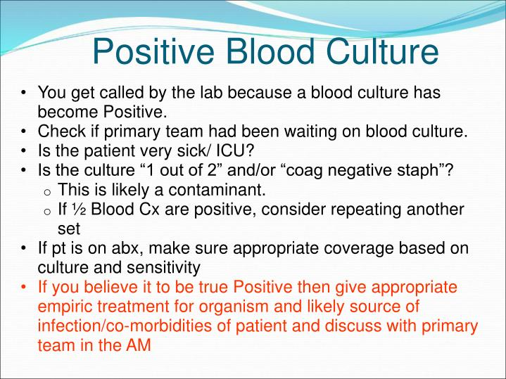 You get called by the lab because a blood culture has become Positive.