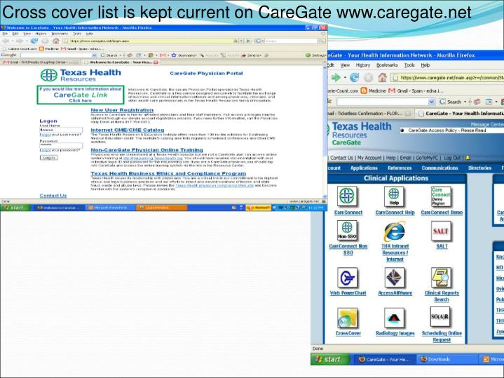 Cross cover list is kept current on CareGate www.caregate.net
