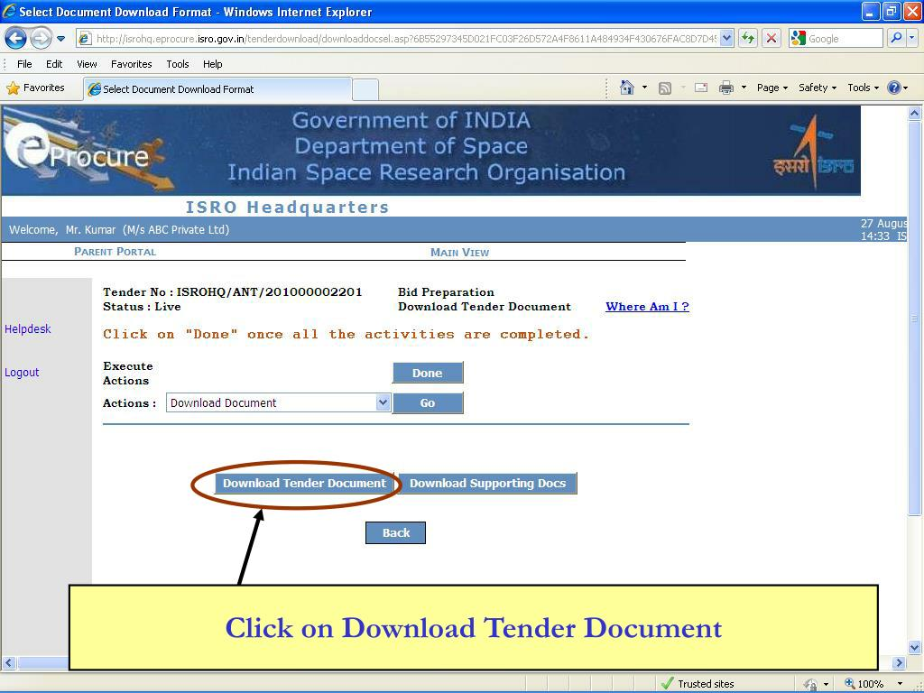 Click on Download Tender Document