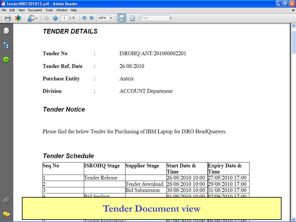 Tender Document view