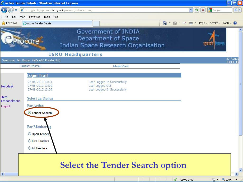 Select the Tender Search option
