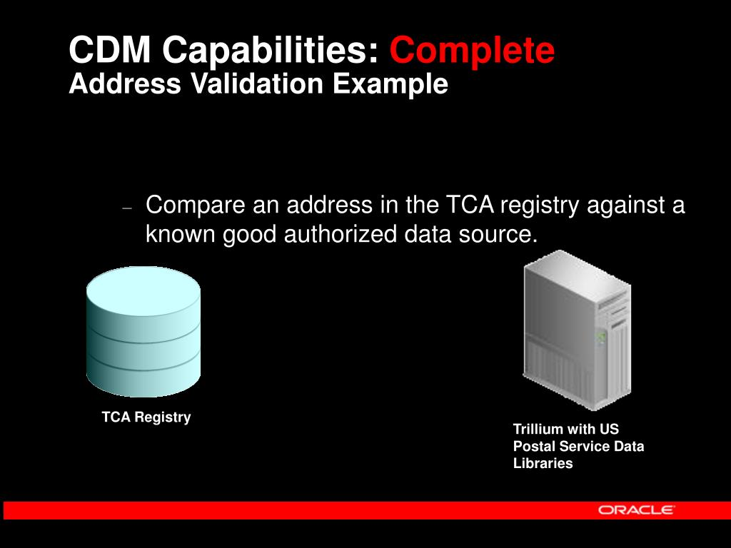 Compare an address in the TCA registry against a known good authorized data source.