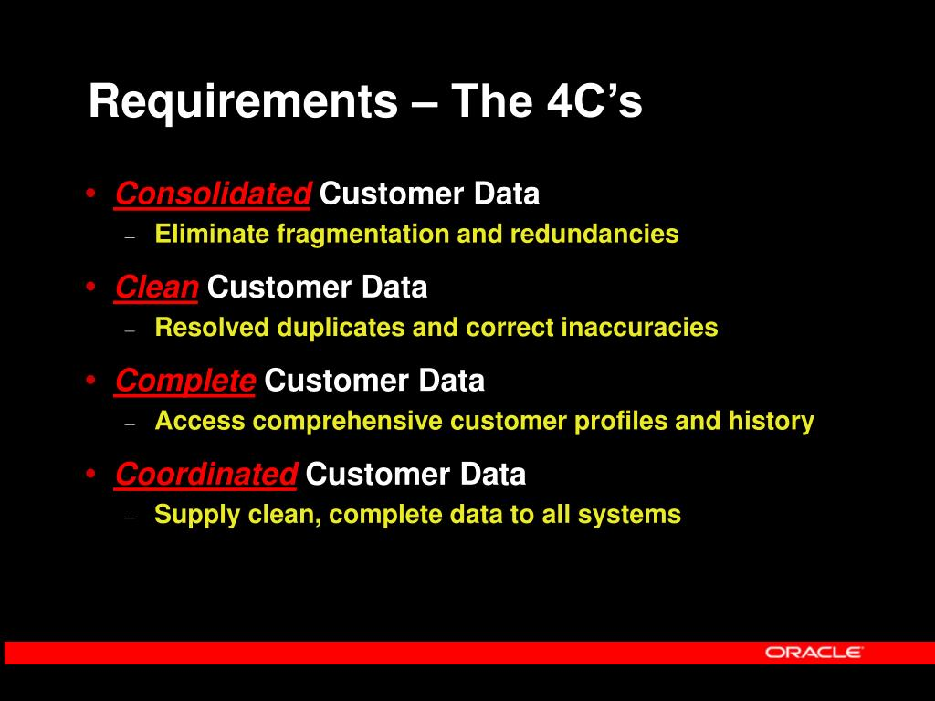 Requirements – The 4C's