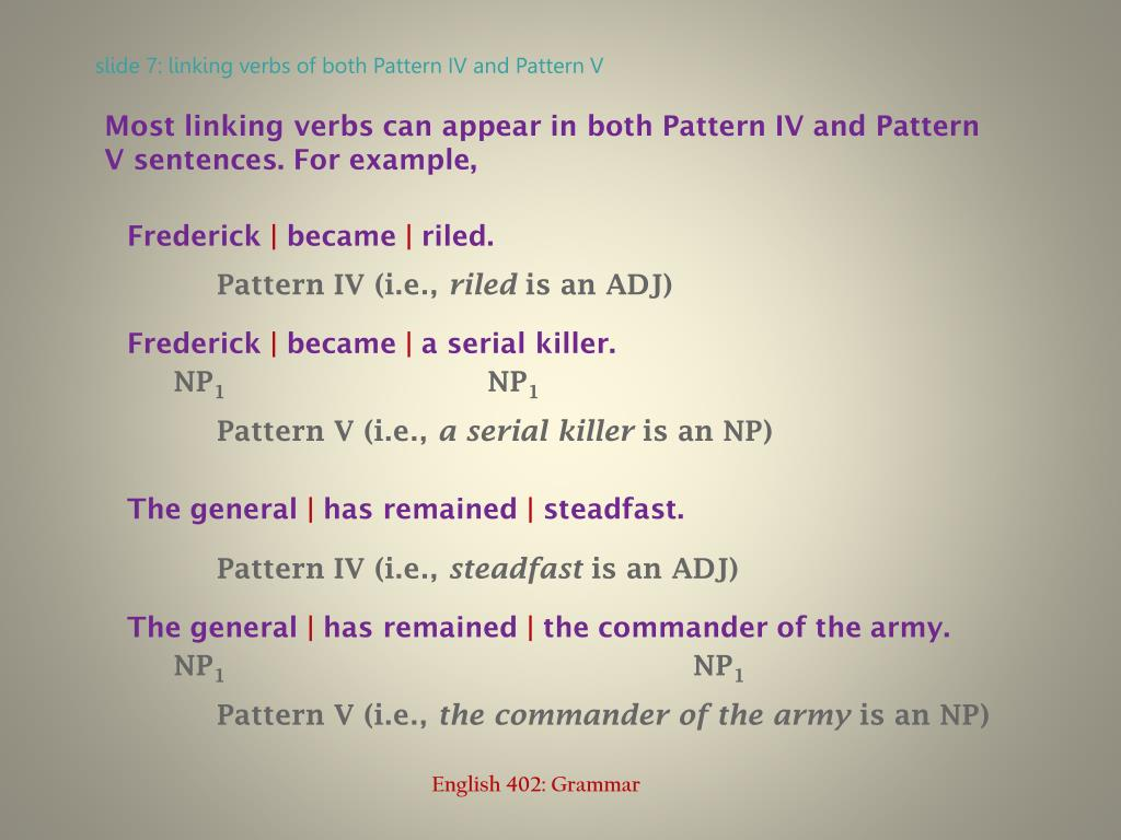 slide 7: linking verbs of both Pattern IV and Pattern V