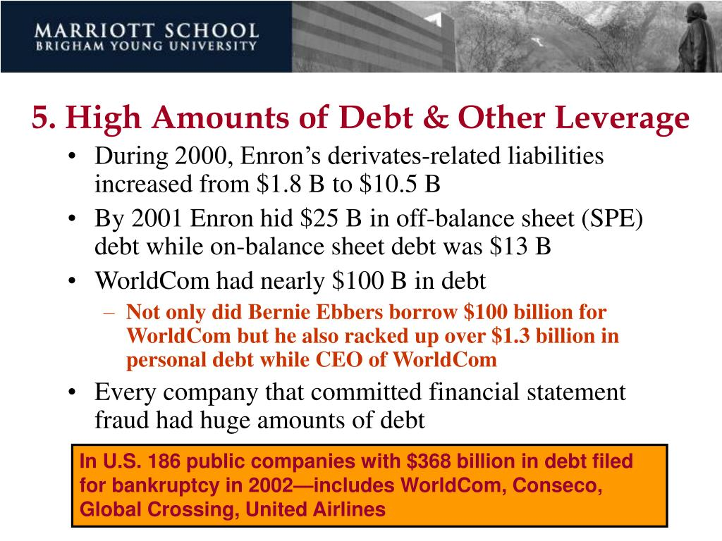 5. High Amounts of Debt & Other Leverage