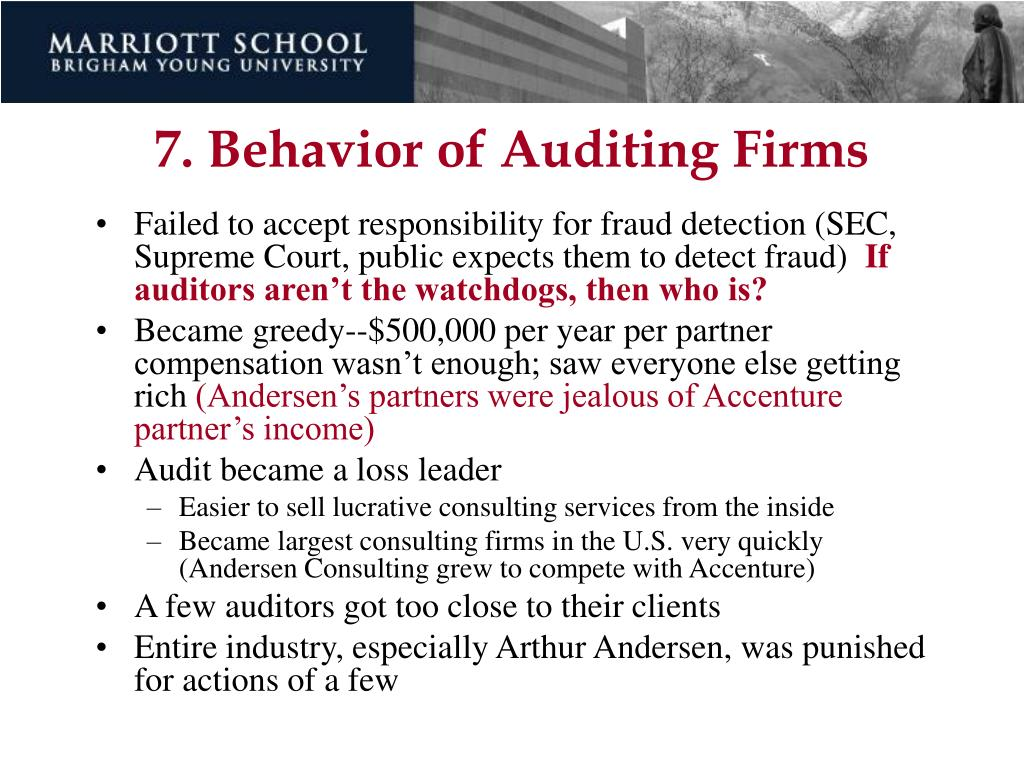 7. Behavior of Auditing Firms