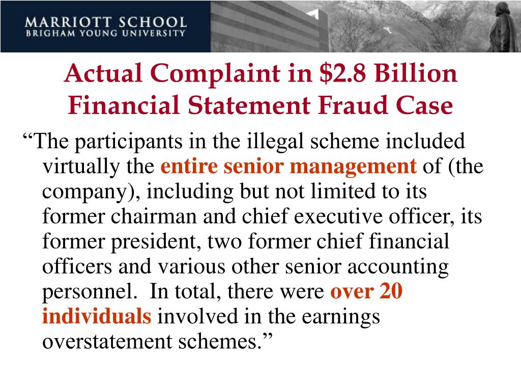 Actual Complaint in $2.8 Billion Financial Statement Fraud Case