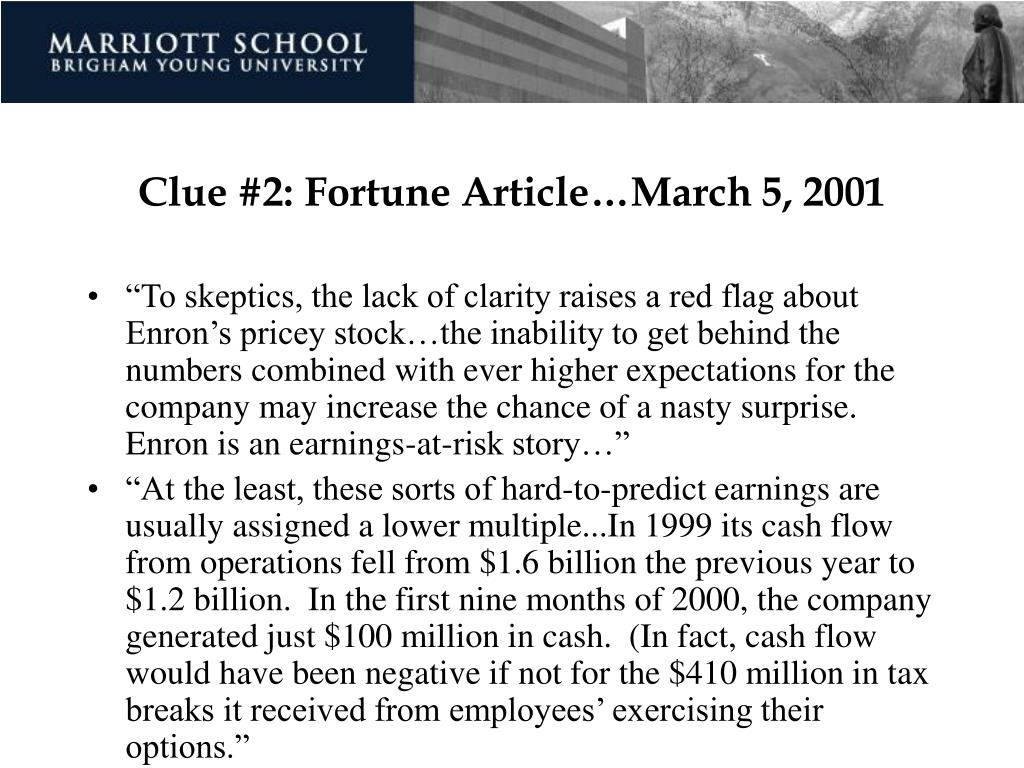Clue #2: Fortune Article…March 5, 2001