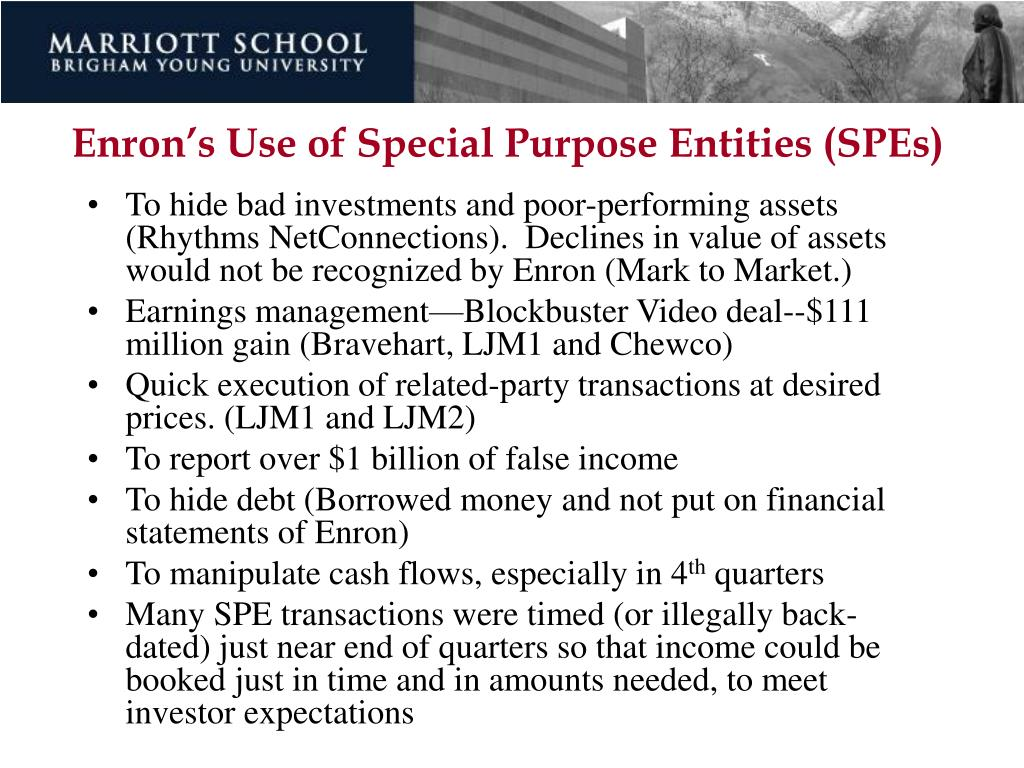 Enron's Use of Special Purpose Entities (SPEs)