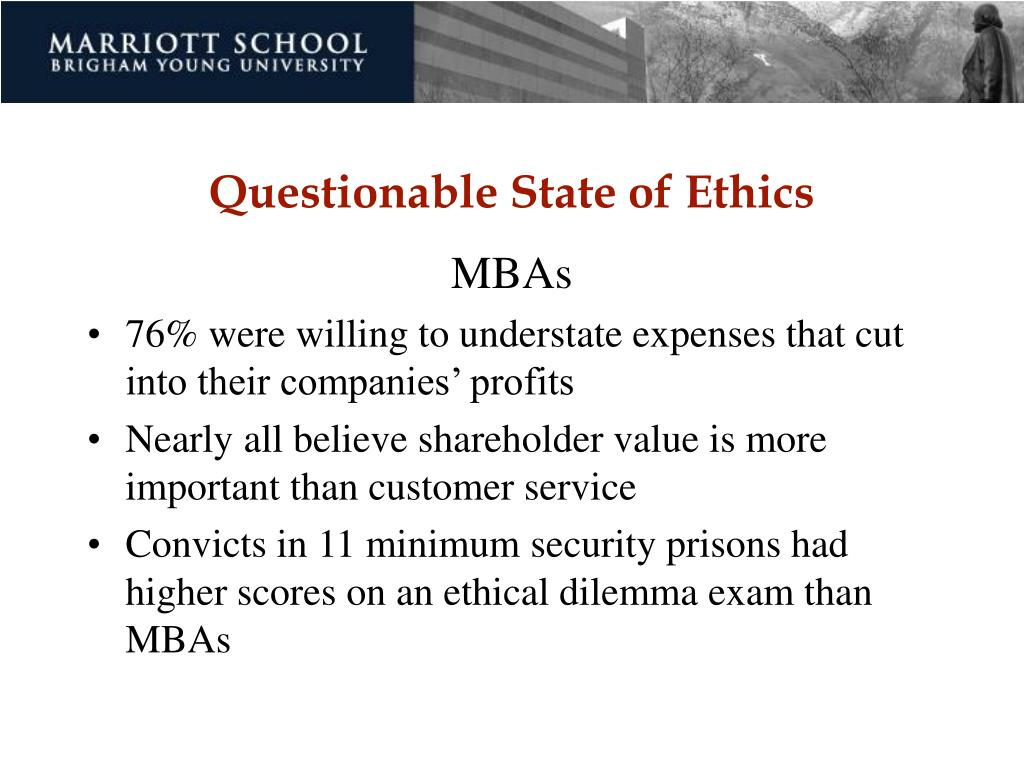 Questionable State of Ethics