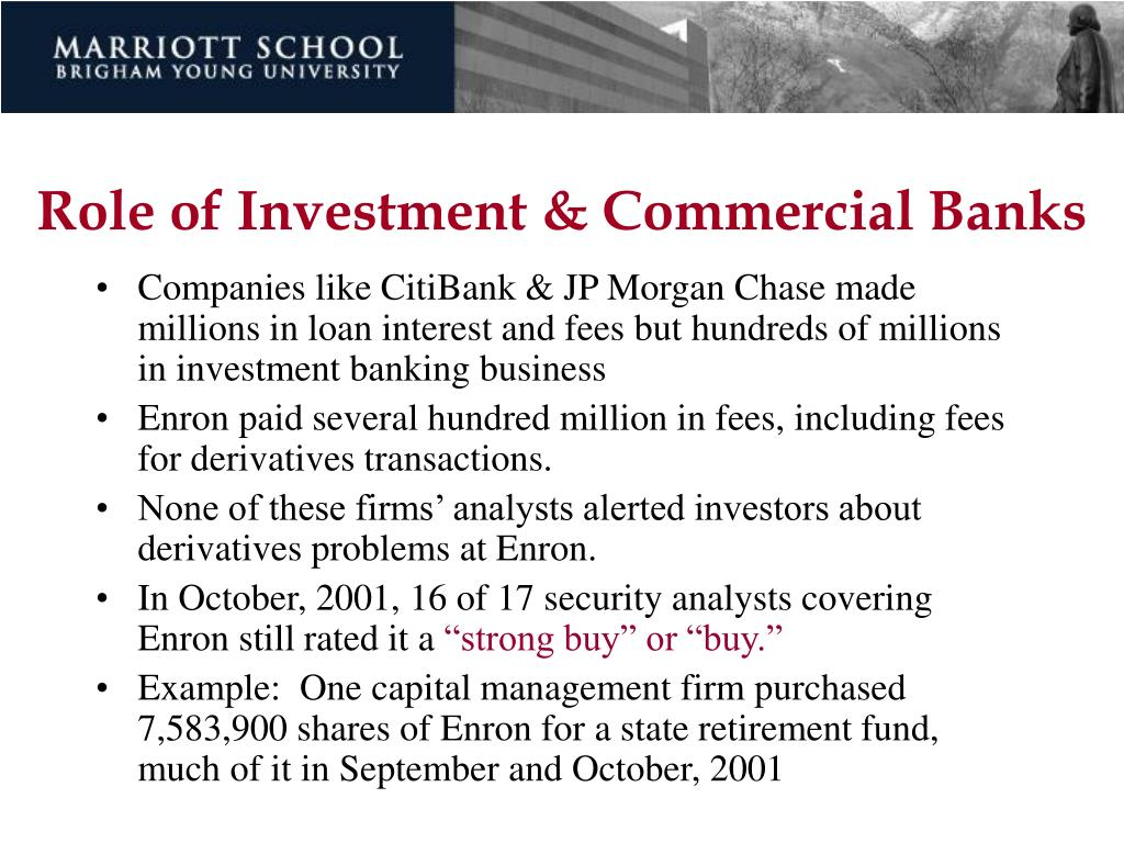 Role of Investment & Commercial Banks