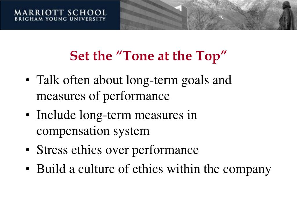 "Set the ""Tone at the Top"""
