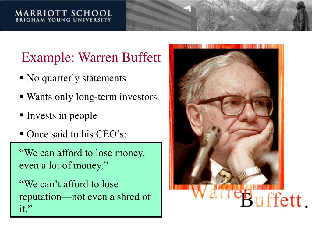 Example: Warren Buffett