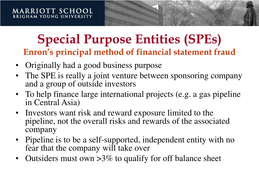Special Purpose Entities (SPEs)