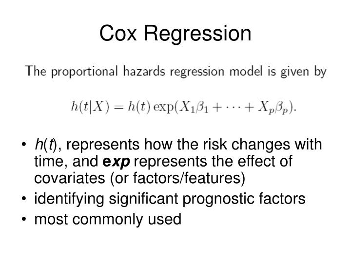 """cox regression Statistics 262: intermediate biostatistics introduction to cox regression history """"regression models and life-tables"""" by dr cox, published in 1972."""