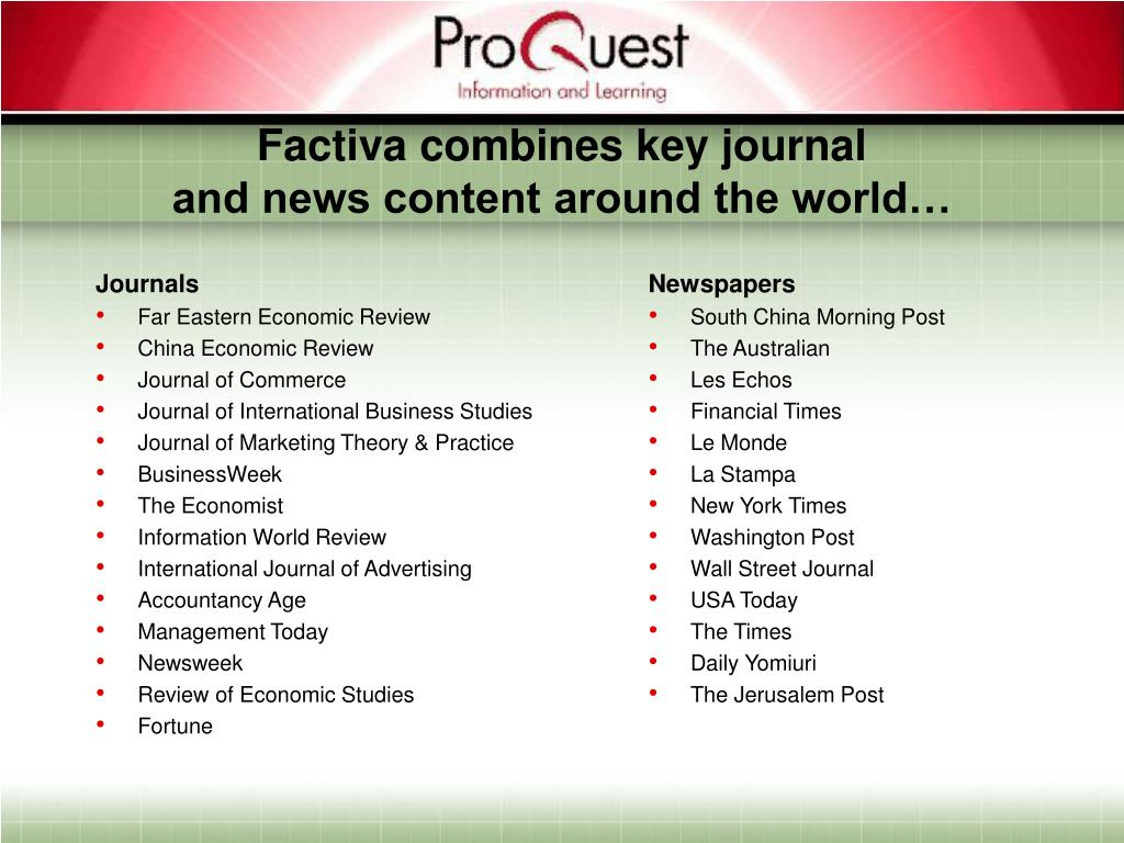 Factiva combines key journal
