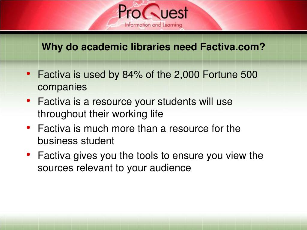 Why do academic libraries need Factiva.com?