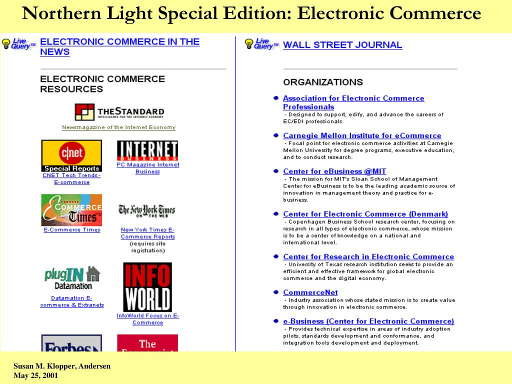 Northern Light Special Edition: Electronic Commerce