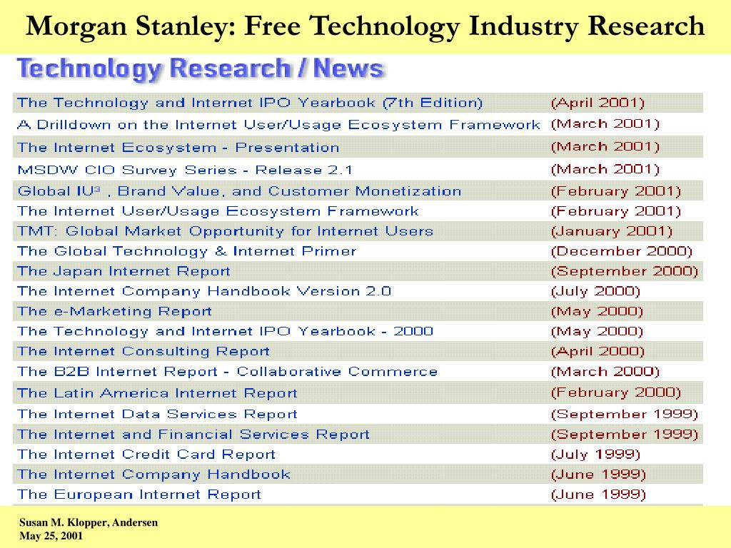 Morgan Stanley: Free Technology Industry Research
