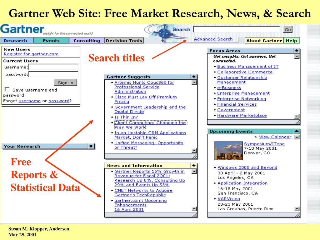 Gartner Web Site: Free Market Research, News, & Search