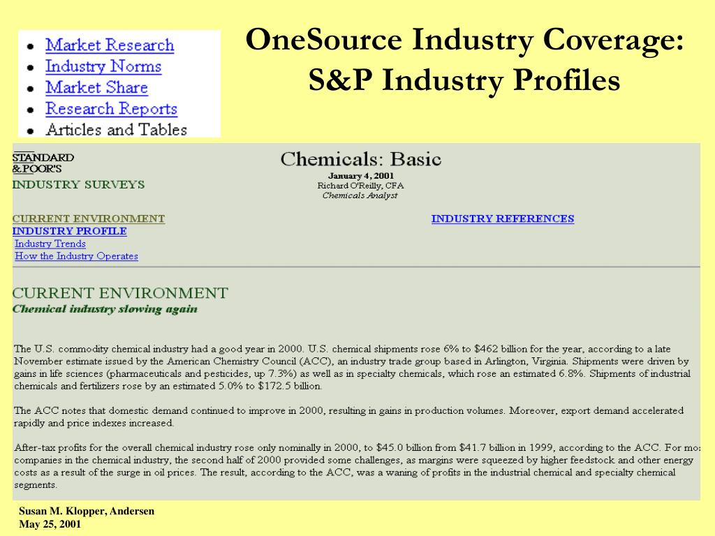 OneSource Industry Coverage: S&P Industry Profiles