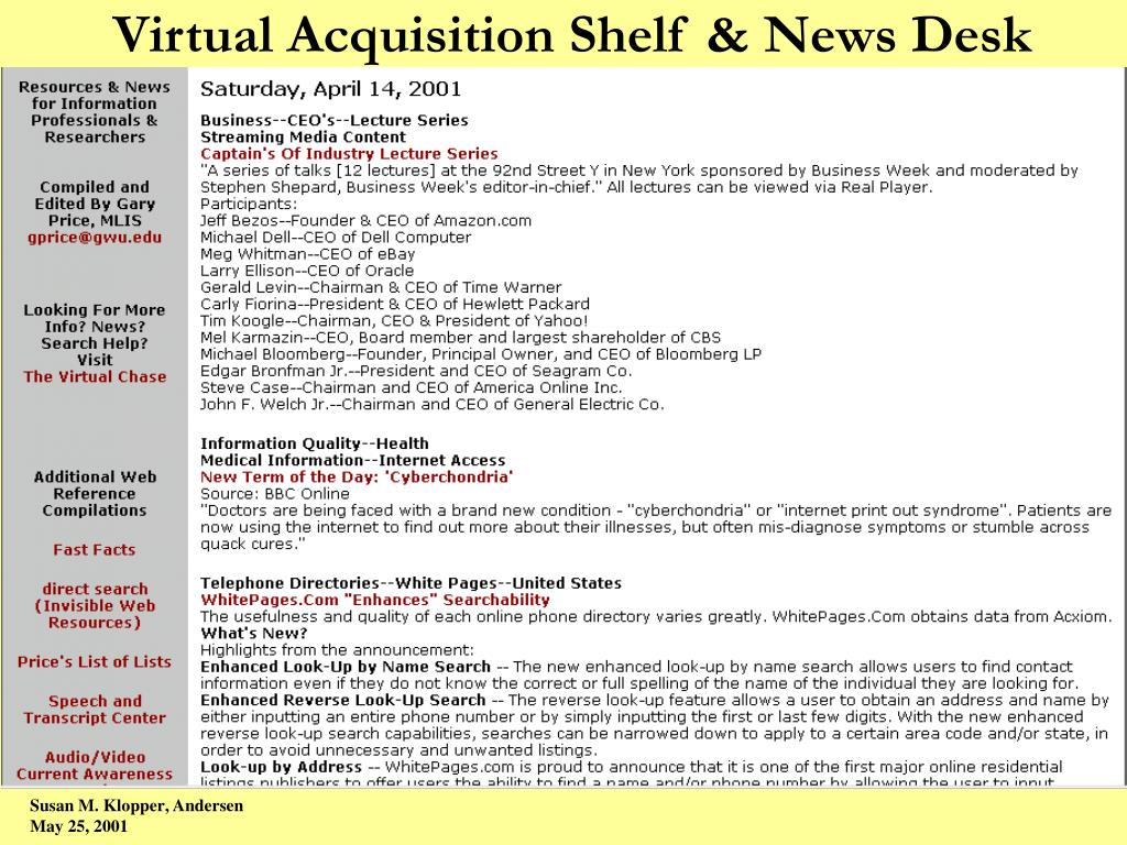 Virtual Acquisition Shelf & News Desk