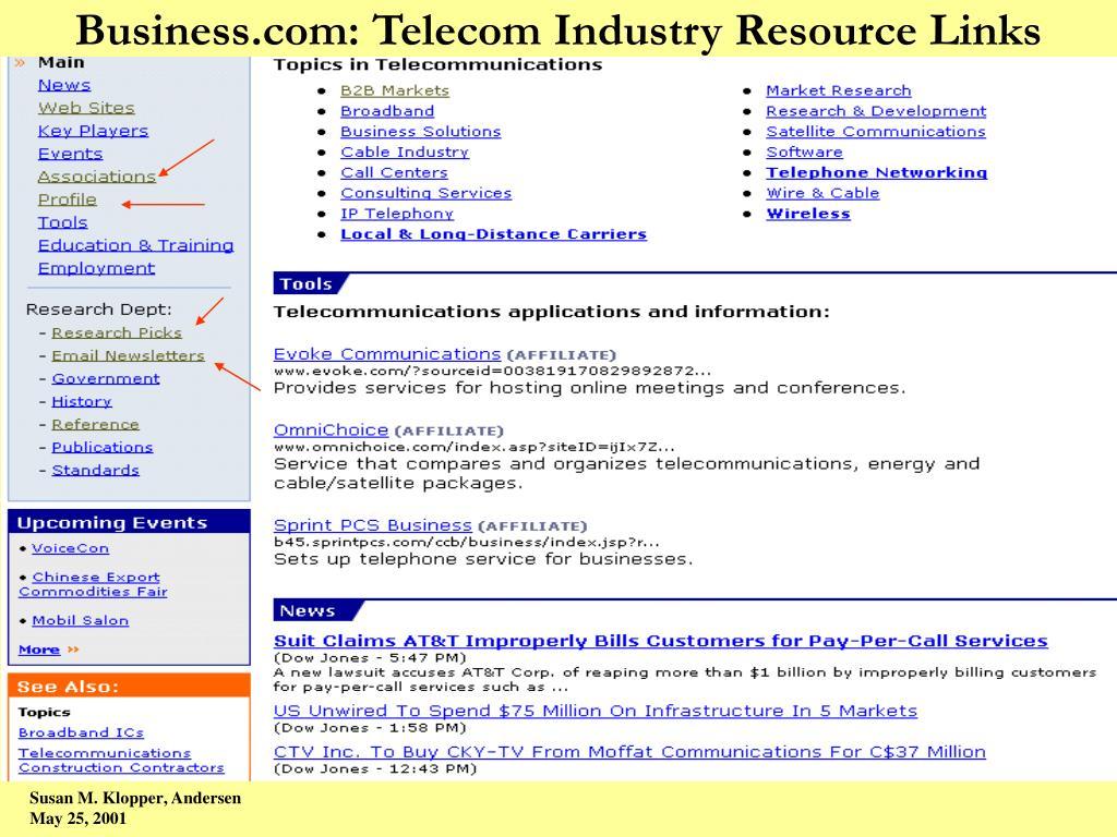 Business.com: Telecom Industry Resource Links