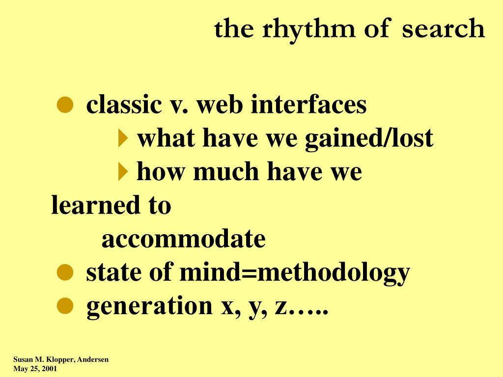 the rhythm of search