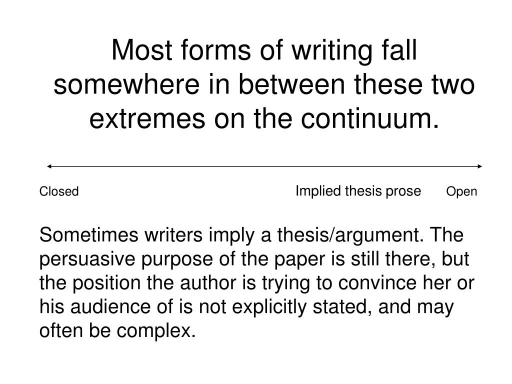 Most forms of writing fall somewhere in between these two extremes on the continuum.
