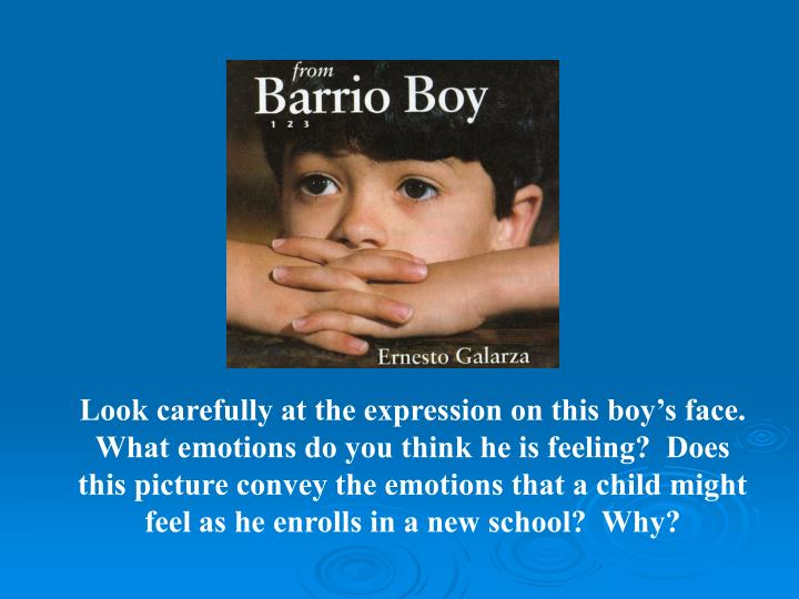 Look carefully at the expression on this boy's face.  What emotions do you think he is feeling?  Does this picture convey the emotions that a child might feel as he enrolls in a new school?  Why?