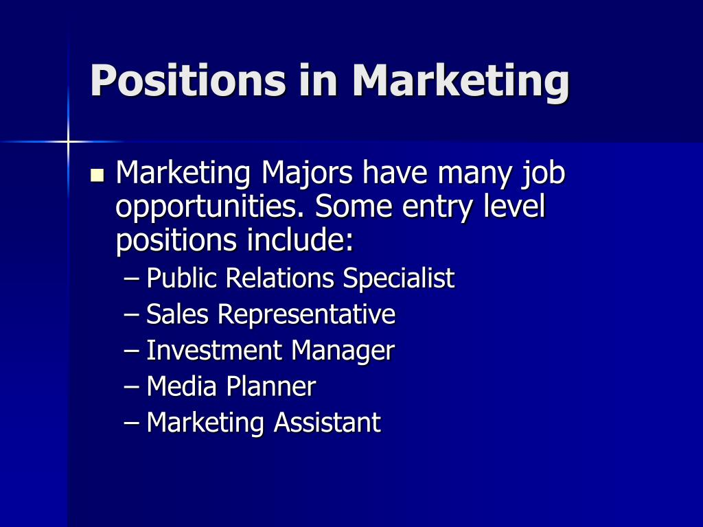 Positions in Marketing