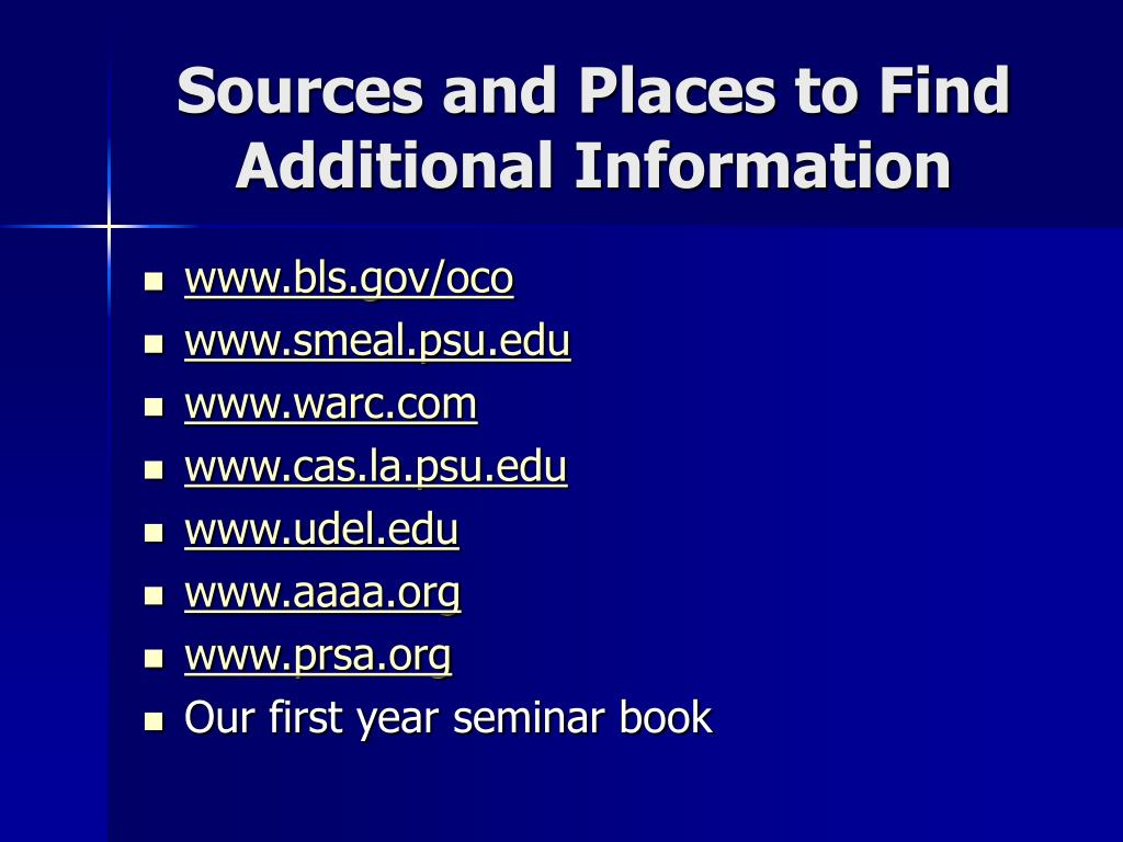 Sources and Places to Find Additional Information