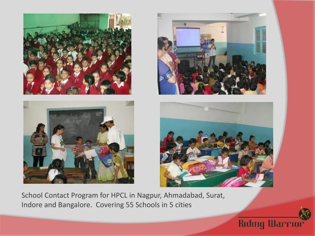 School Contact Program for HPCL in Nagpur, Ahmadabad, Surat, Indore and Bangalore.