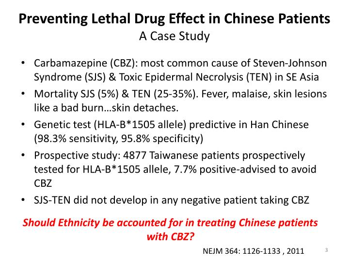 Preventing lethal drug effect in chinese patients a case study