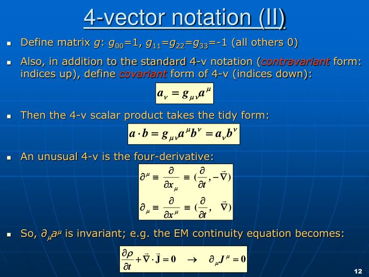 4-vector notation (II)