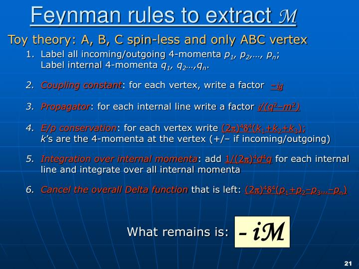 Feynman rules to extract