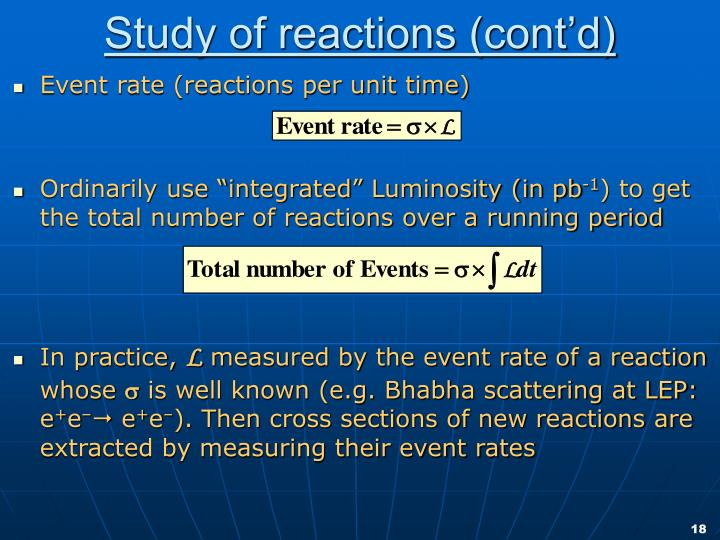 Study of reactions (cont'd)